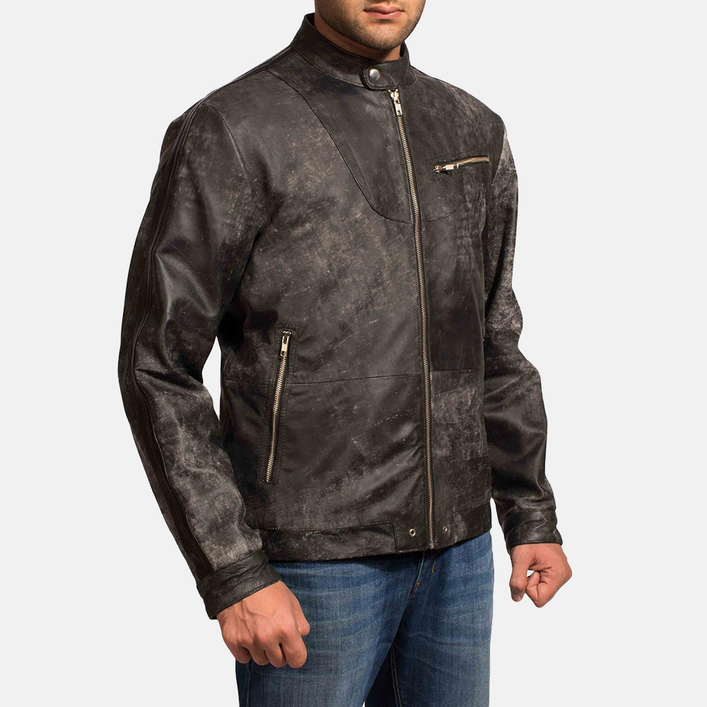 Mens Chalky Black Leather Jacket 3