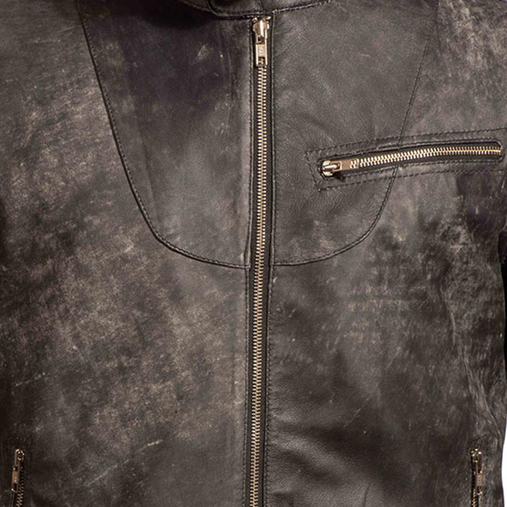 Mens Chalky Black Leather Jacket 5