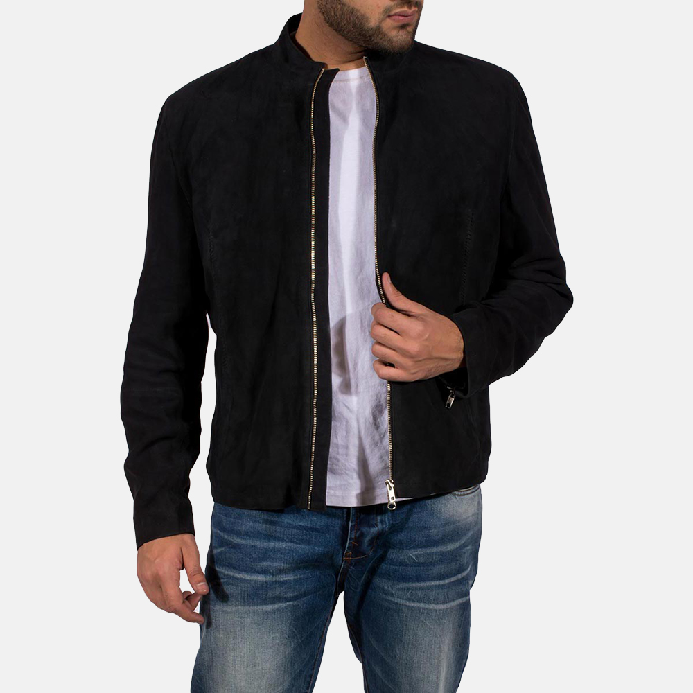 Mens Charcoal Black Suede Biker Jacket 1
