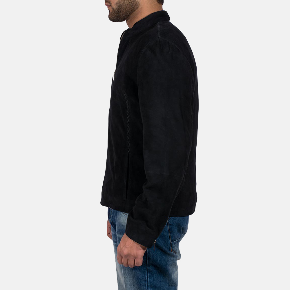 Mens Charcoal Black Suede Biker Jacket 3