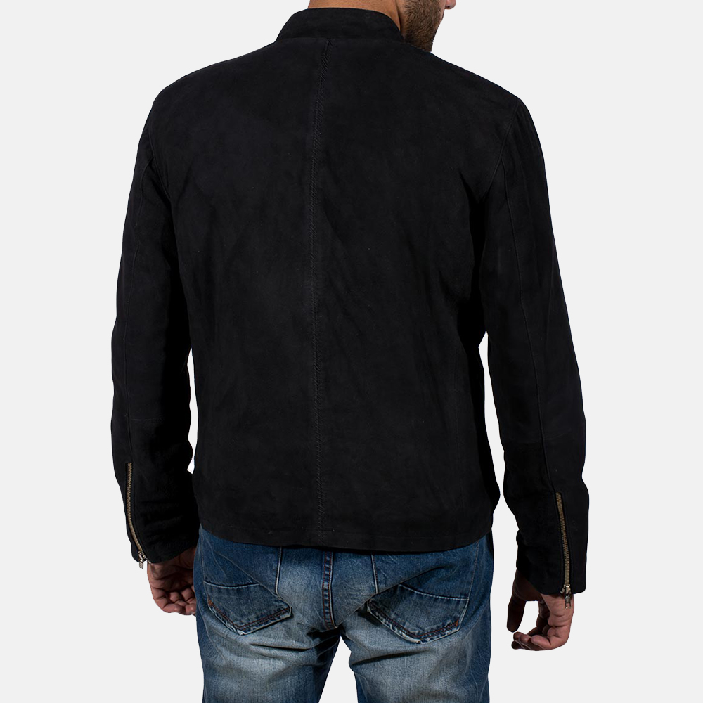 Mens Charcoal Black Suede Biker Jacket 4