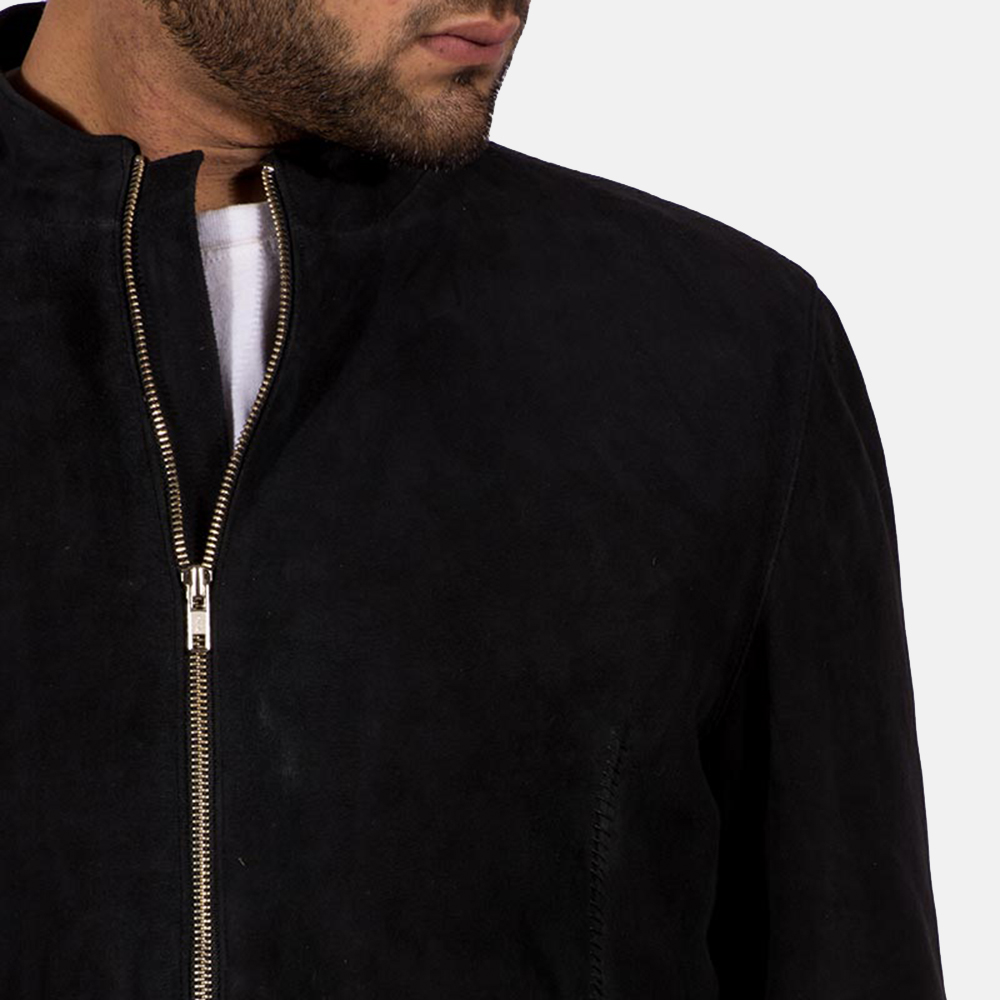 Mens Charcoal Black Suede Biker Jacket 5