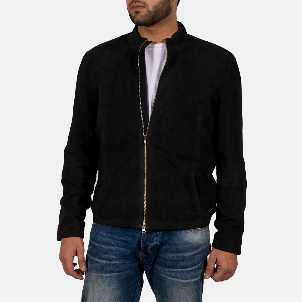 Mens Charcoal Black Suede Biker Jacket 2
