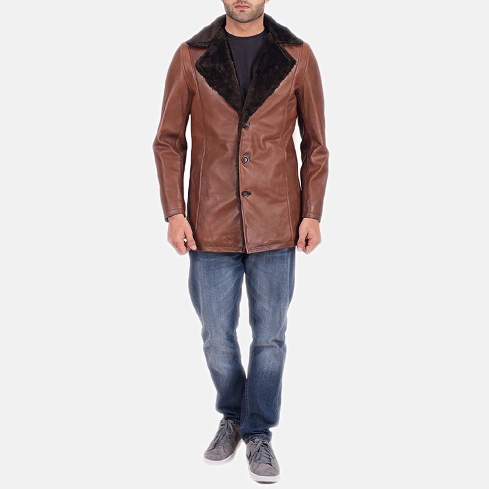 Mens Cinnamon Brown Leather Fur Coat 2