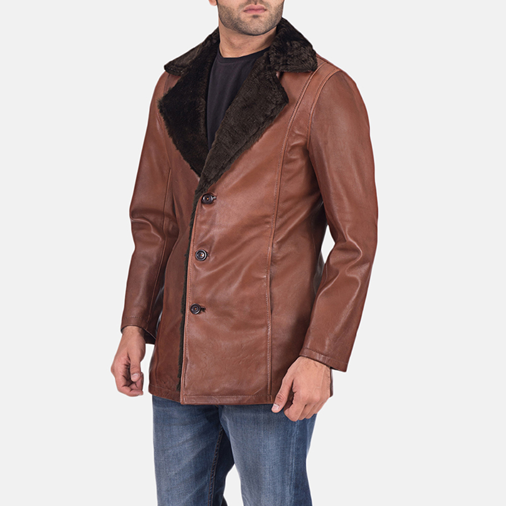 Mens Cinnamon Brown Leather Fur Coat 3