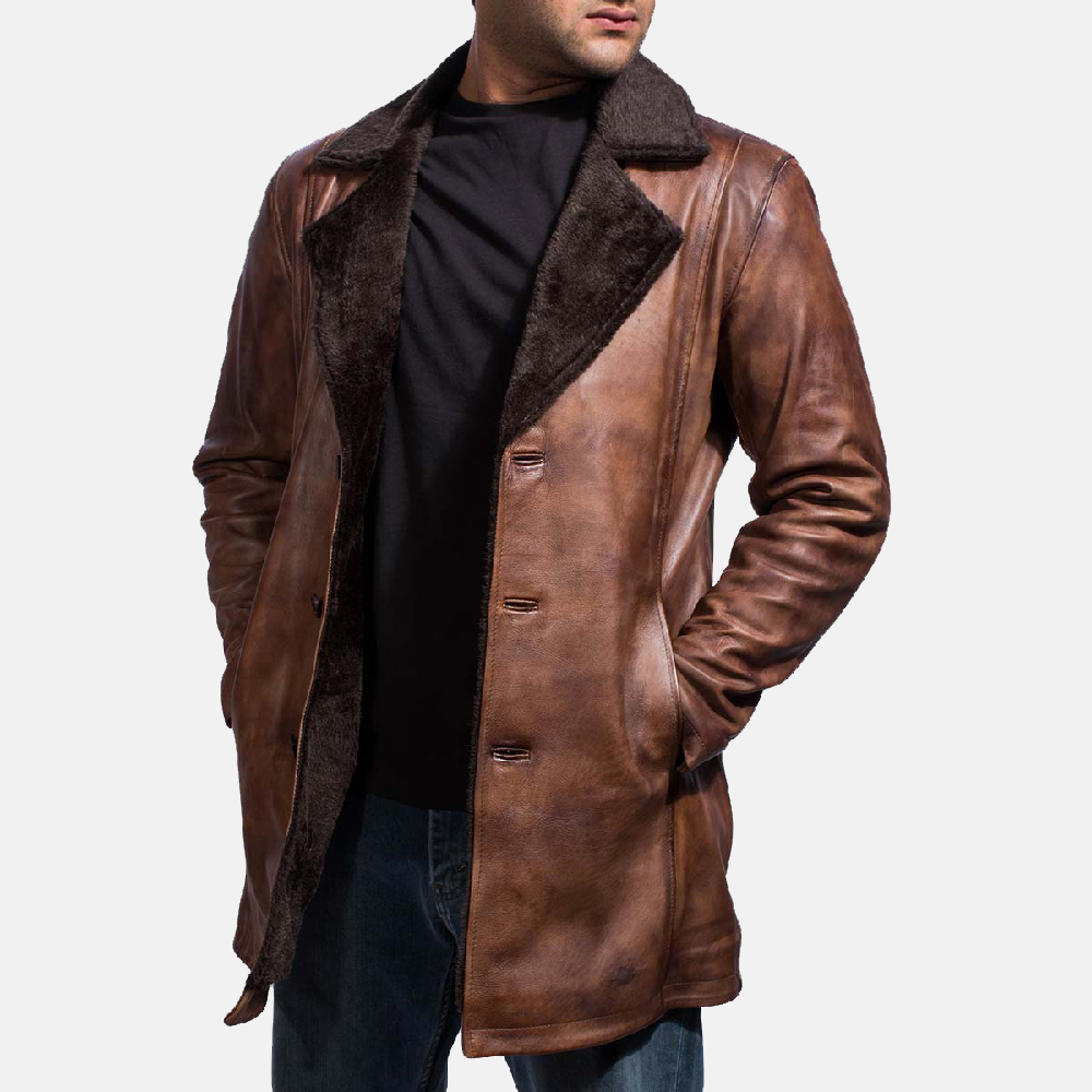 Mens Cinnamon Distressed Leather Fur Coat 2