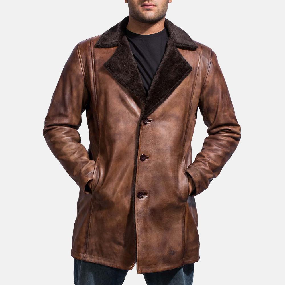 vintage leather full grain leather coat