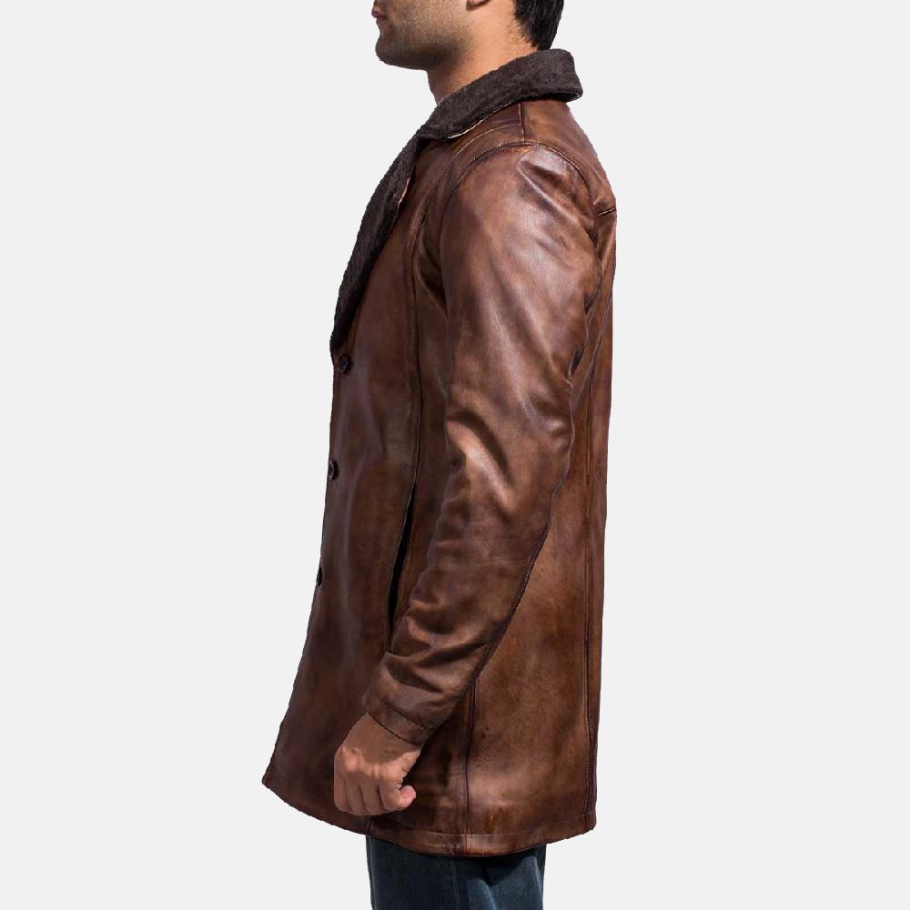 Mens Cinnamon Distressed Leather Fur Coat 4