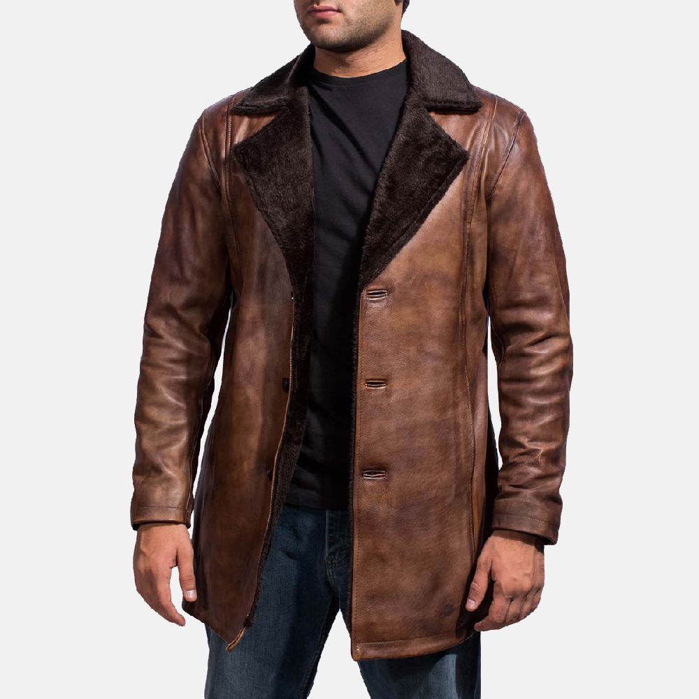 Mens Cinnamon Distressed Leather Fur Coat 1