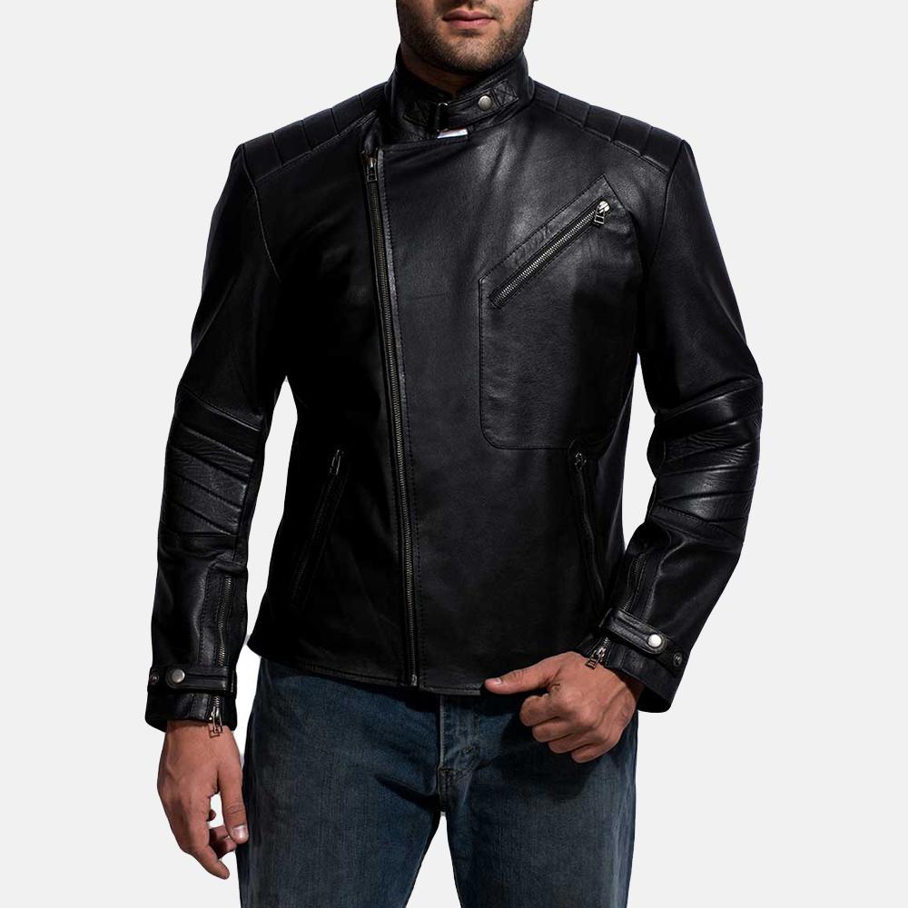 Mens Raiden Black Leather Biker Jacket 2