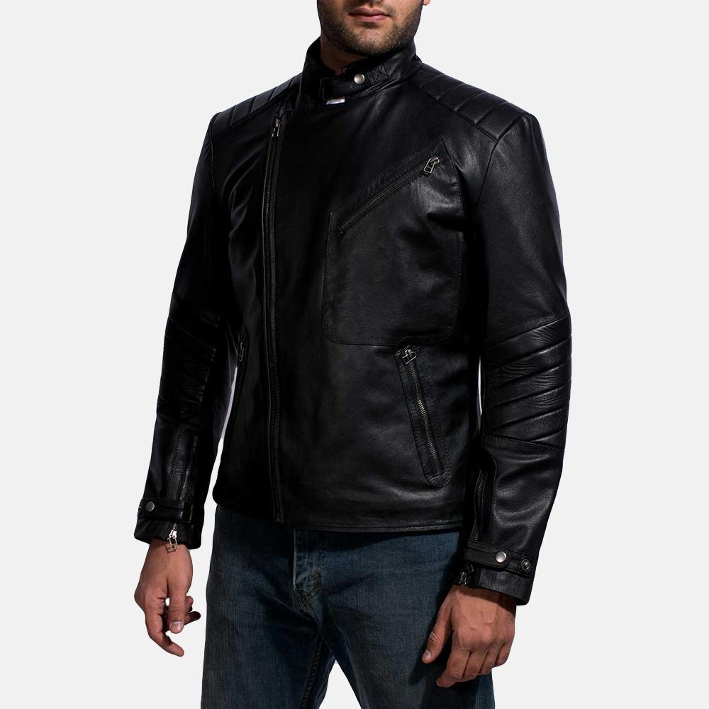 Mens Raiden Black Leather Biker Jacket 3