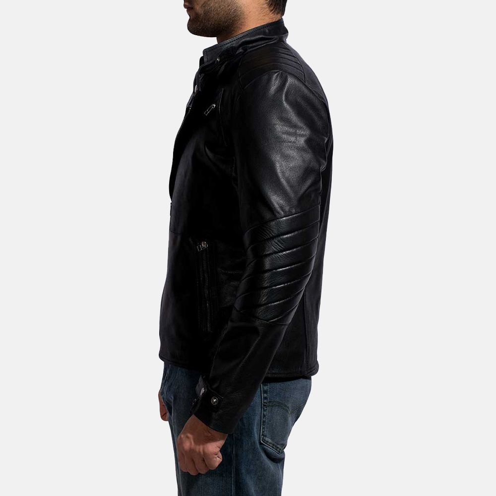 Mens Raiden Black Leather Biker Jacket 5