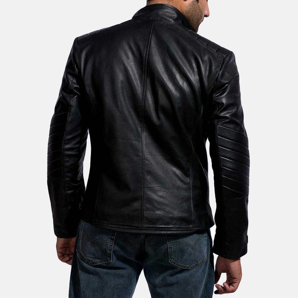 Mens Raiden Black Leather Biker Jacket 6