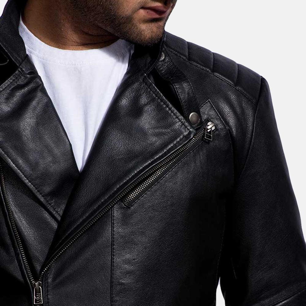 Mens Raiden Black Leather Biker Jacket 4