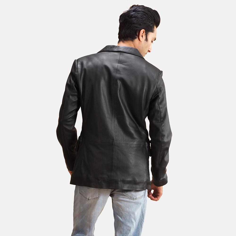 Mens Alyson Black Leather Blazer 4