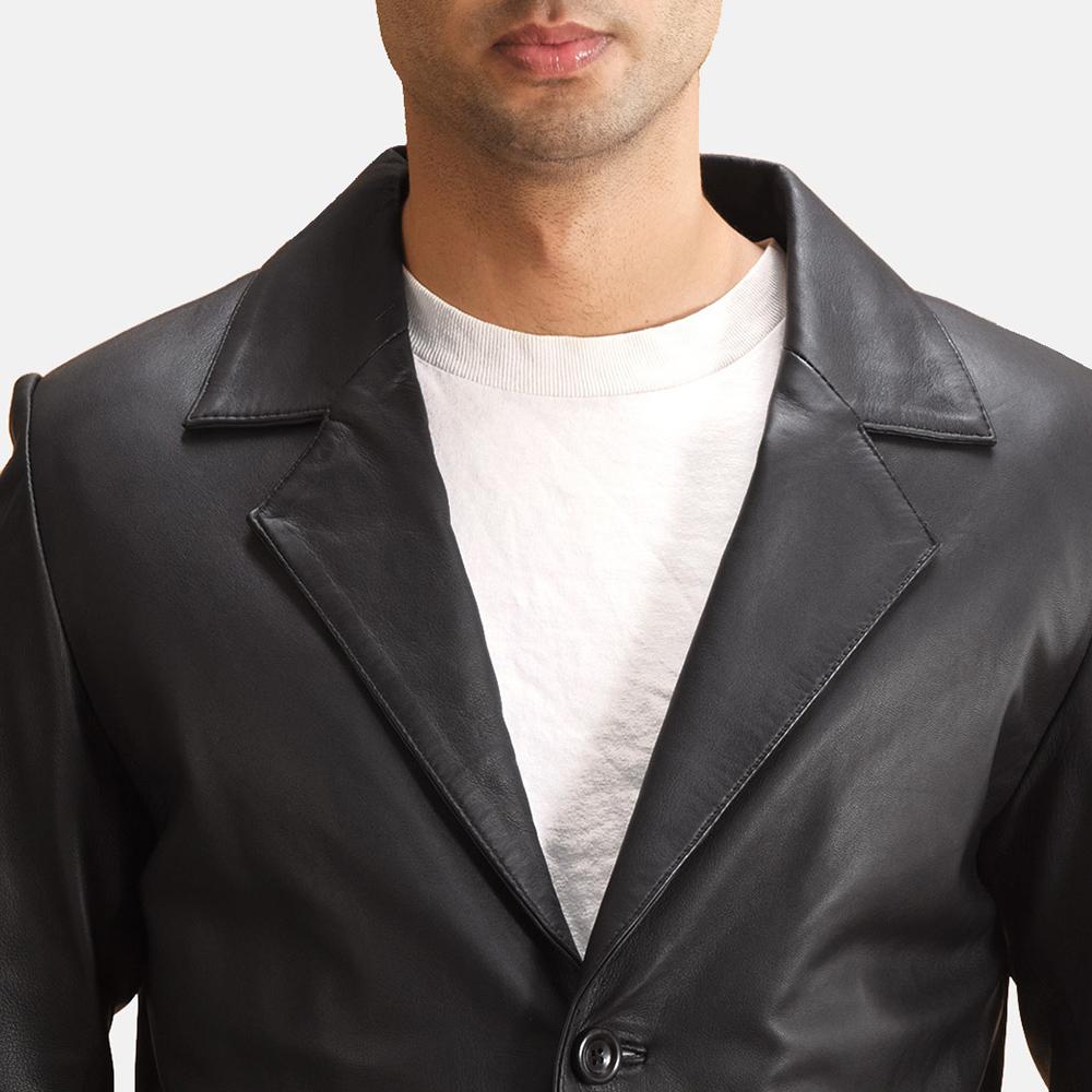 Mens Alyson Black Leather Blazer 5