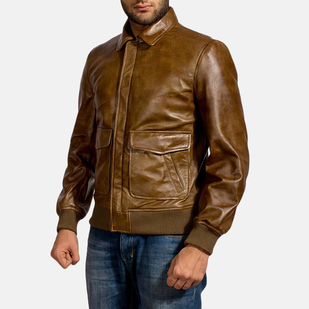 Mens Coffmen Brown Leather Bomber Jacket 3