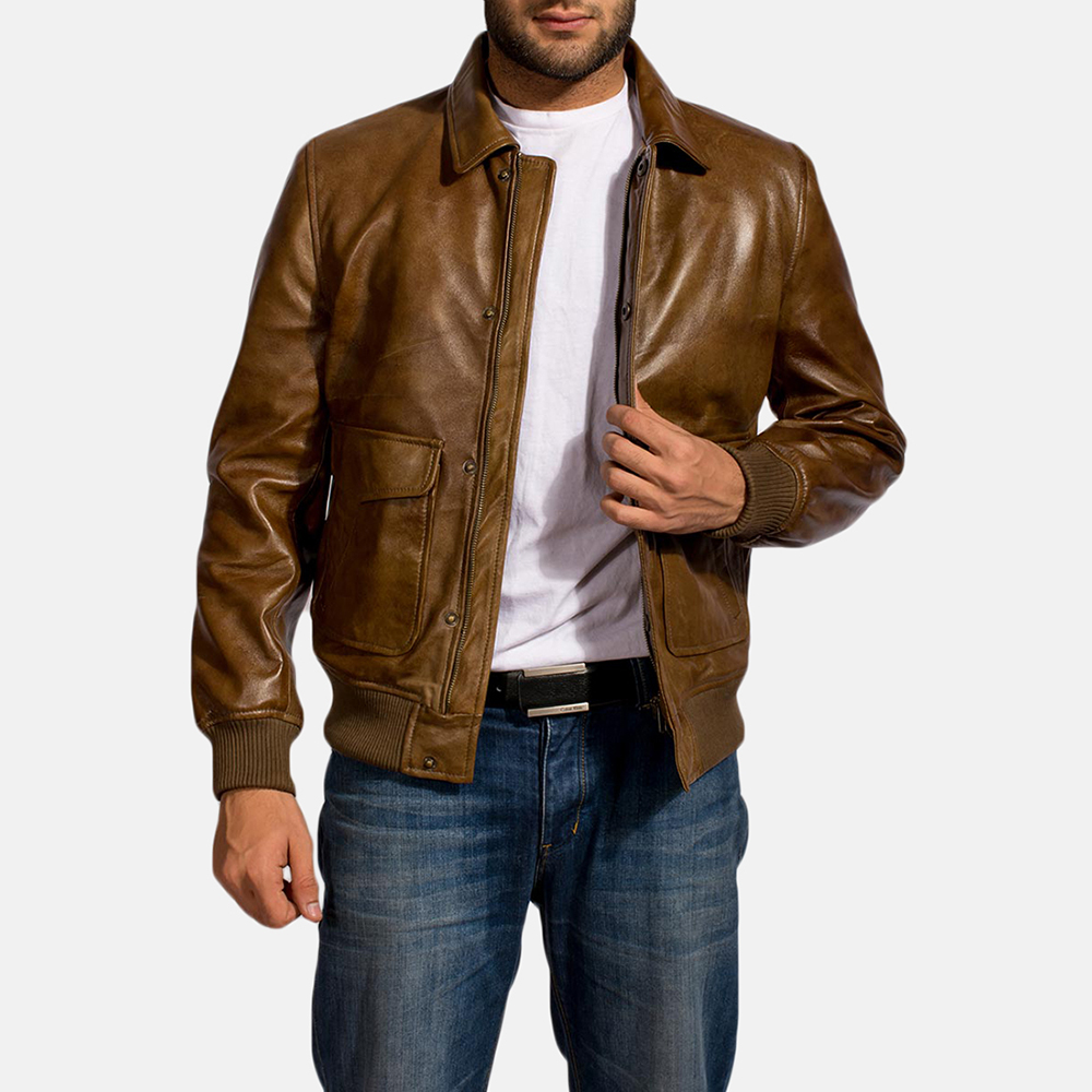 Mens Coffmen Brown Leather Bomber Jacket 2