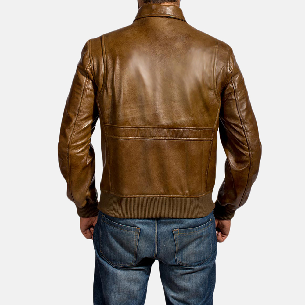 Mens Coffmen Brown Leather Bomber Jacket 5