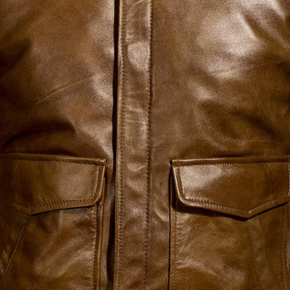 Mens Coffmen Brown Leather Bomber Jacket 4