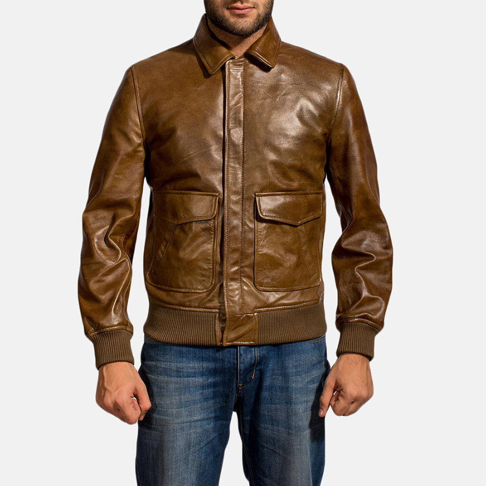 Mens Coffmen Brown Leather Bomber Jacket 1