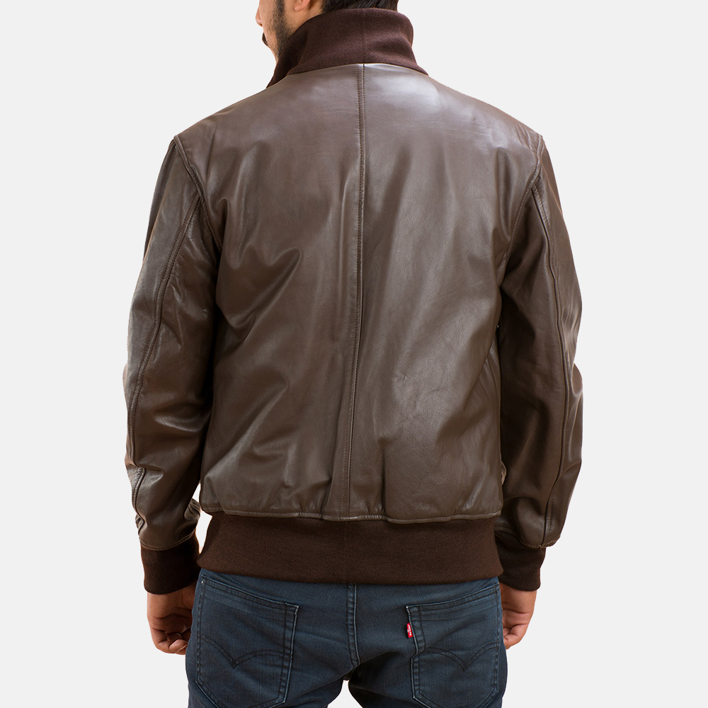Mens Columbus Brown Leather Bomber Jacket 4