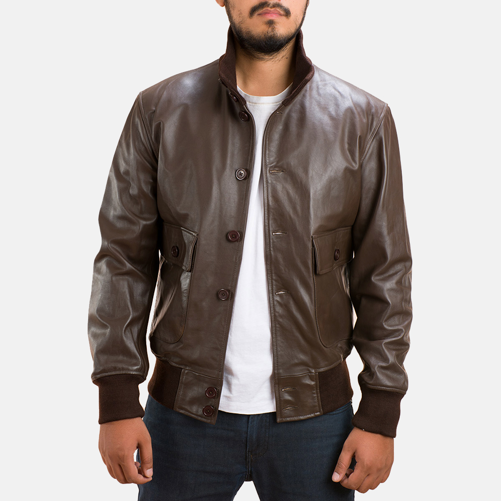 cb0bb7b5a338 Mens Columbus Brown Leather Bomber Jacket 1