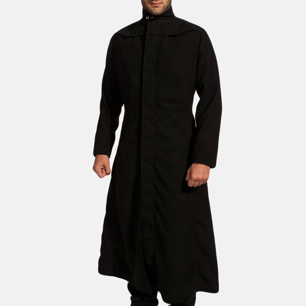 Mens Dane Shadow Black Long Coat 2