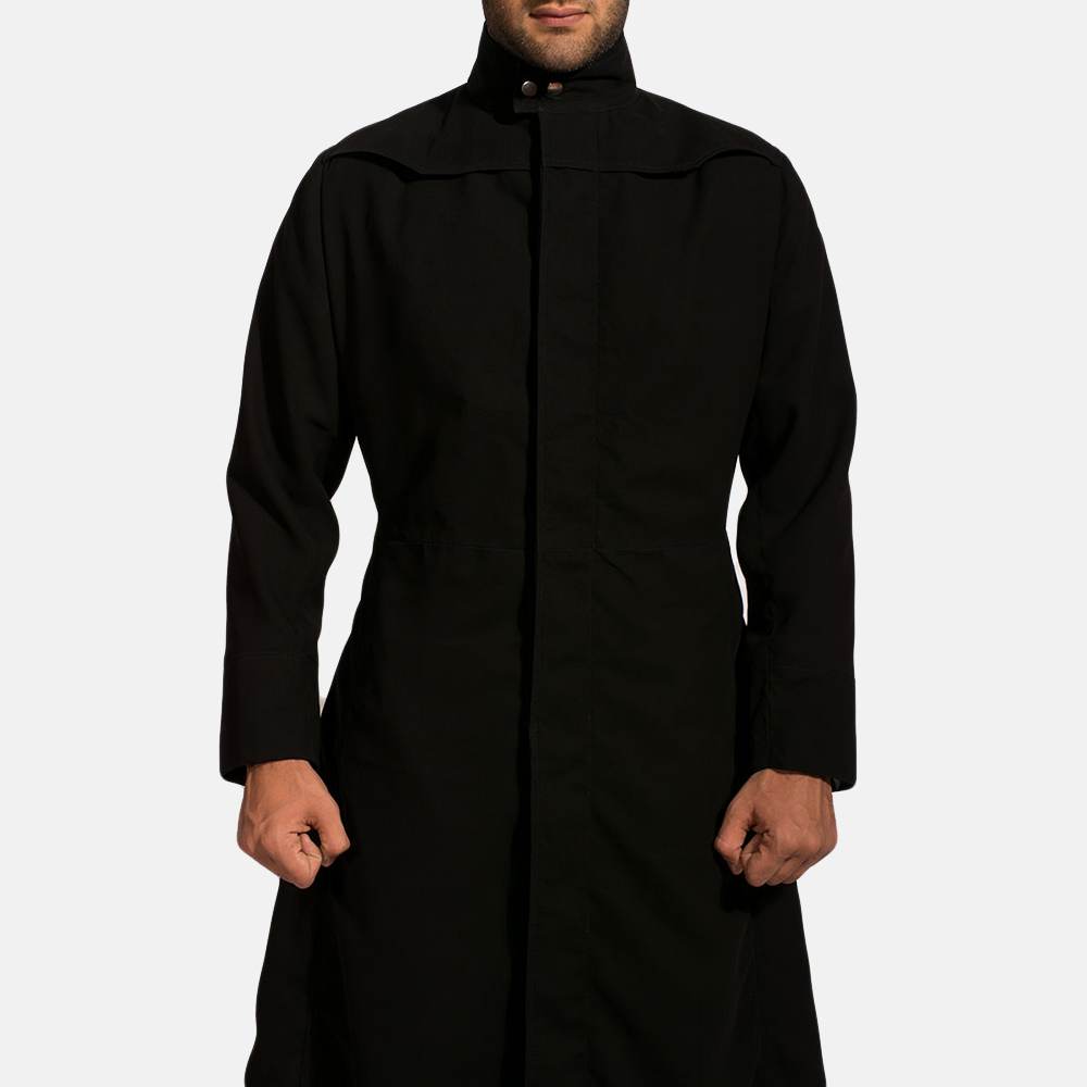 Mens Dane Shadow Black Long Coat 5
