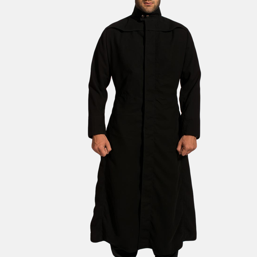 Mens Dane Shadow Black Long Coat 1