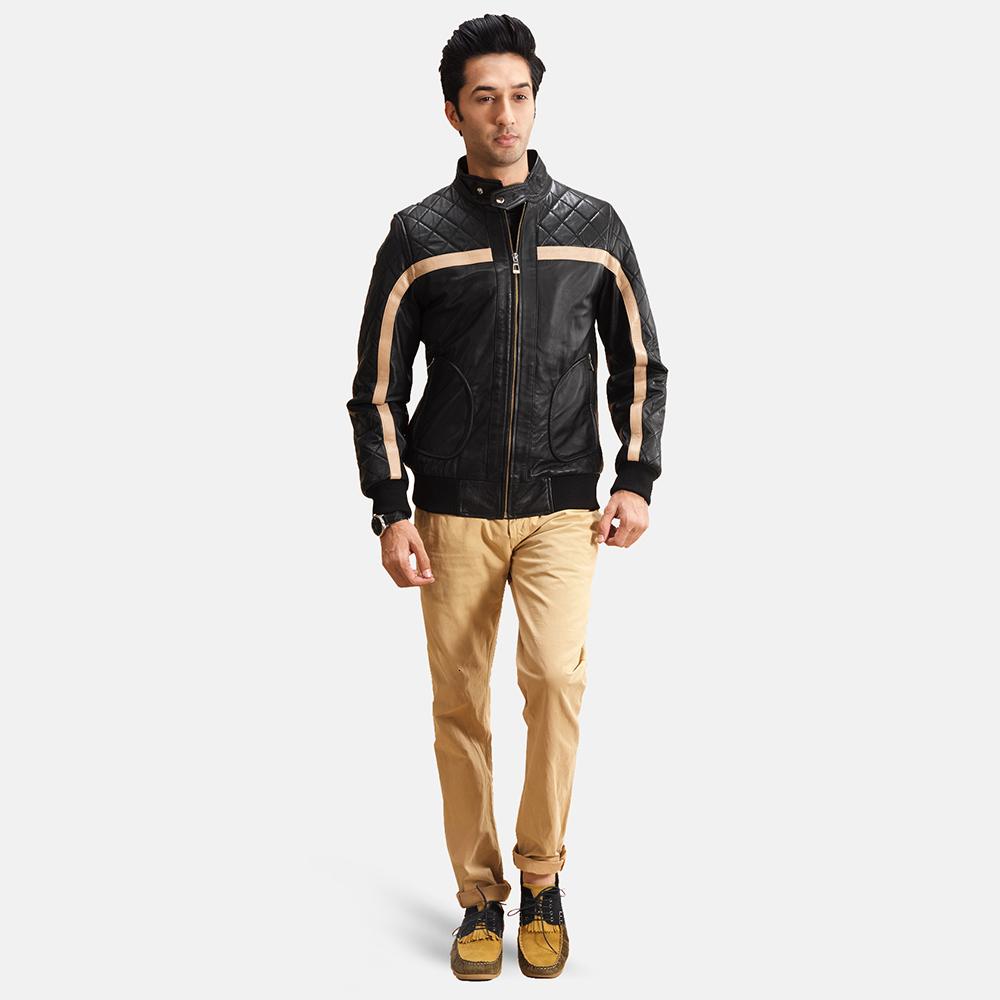 Mens Danson  Black Leather Bomber Jacket 2
