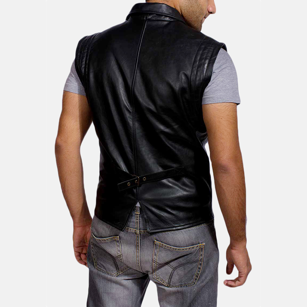 Mens Desperado Black Leather Coat & Vest 8