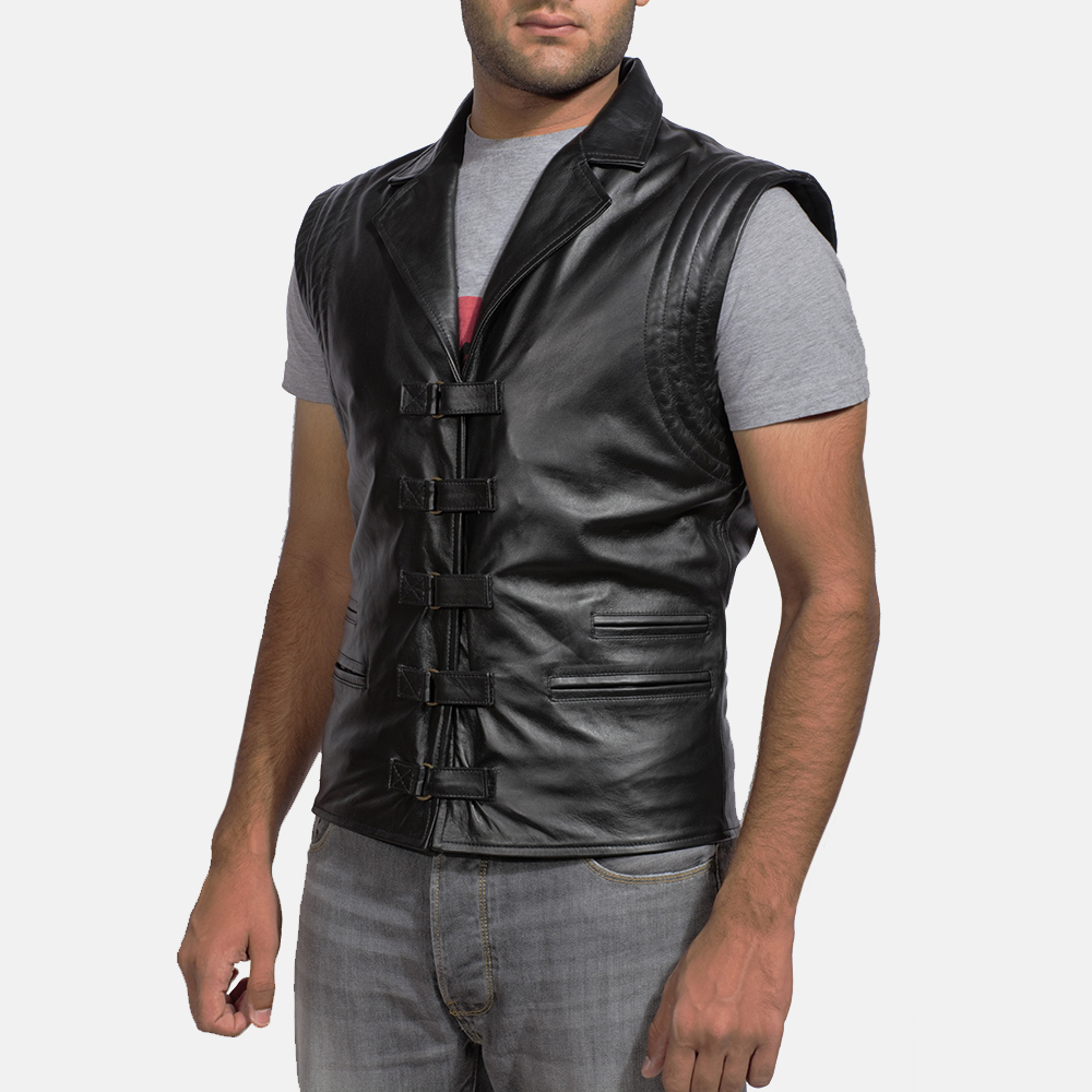 f9de09f71c9 Mens Desperado Black Leather Vest 2
