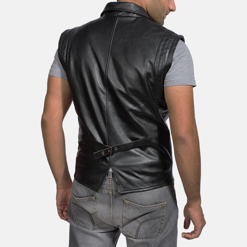 Mens Desperado Black Leather Vest 3