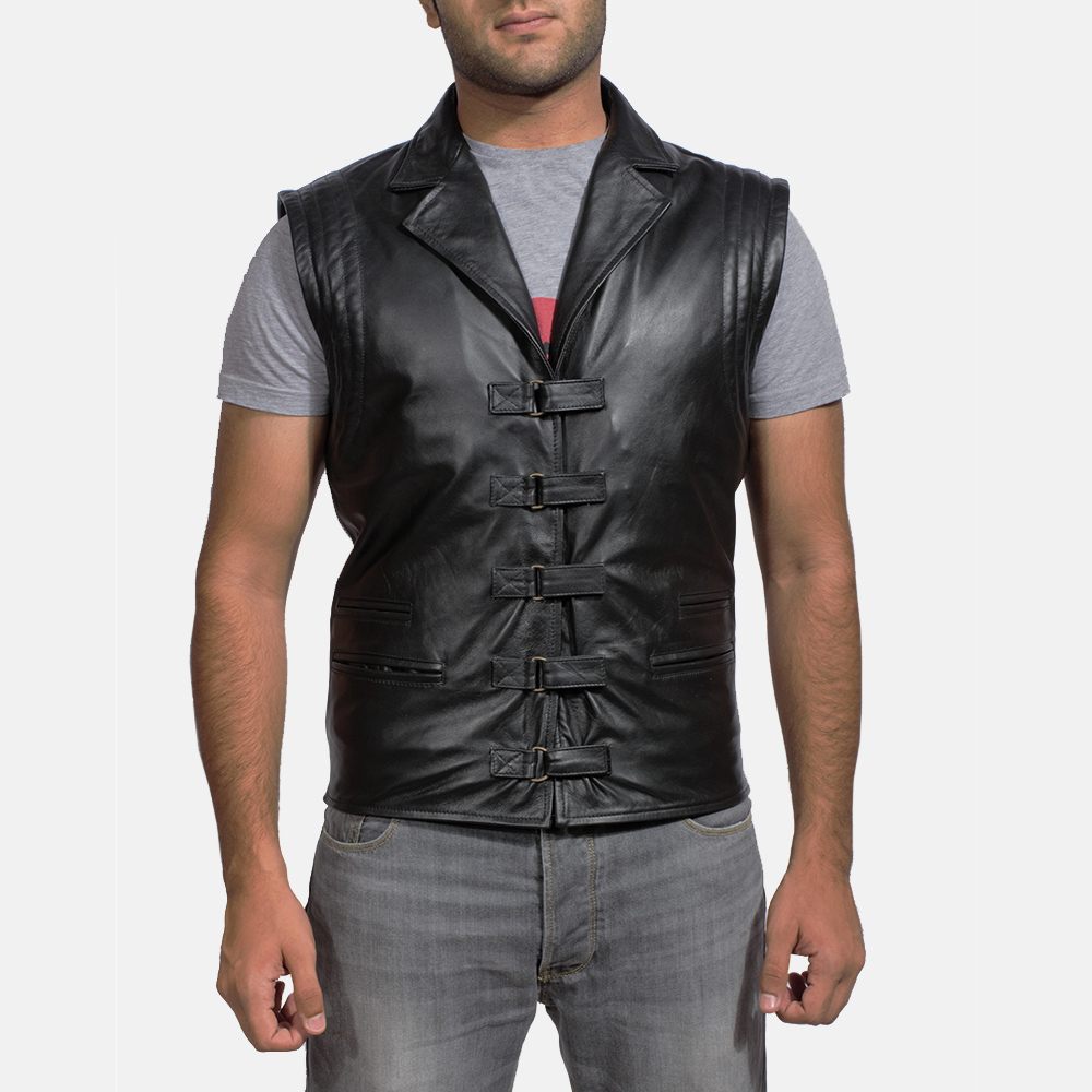 4e86cab877b Mens Desperado Black Leather Vest 1