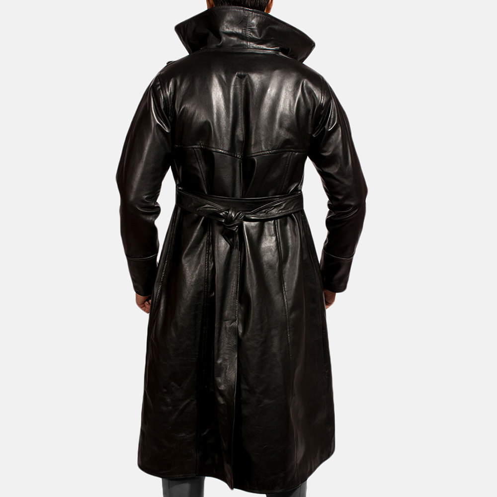 Mens Dracullum Black Leather Coat 3