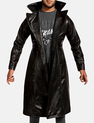 Mens Dracullum Black Leather Coat 1