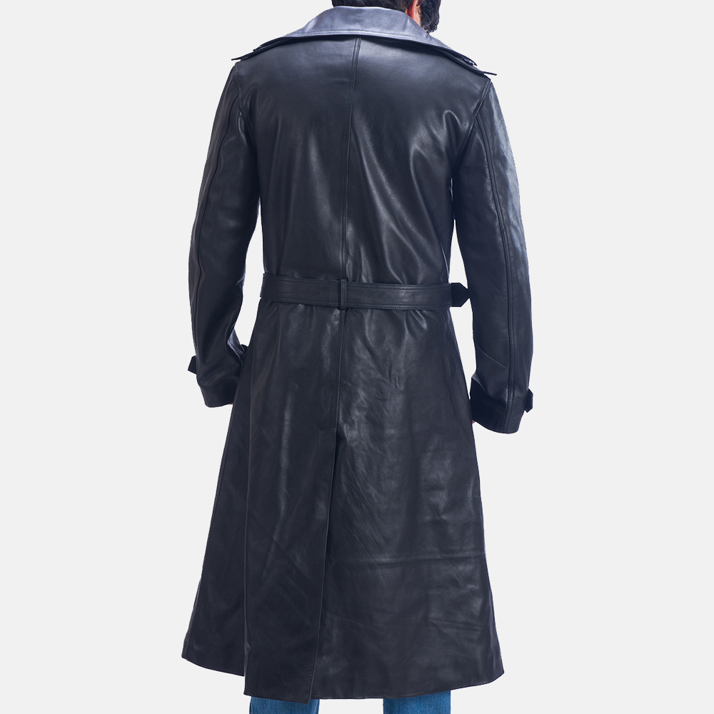 Mens Enigma Black Leather Trench Coat 5