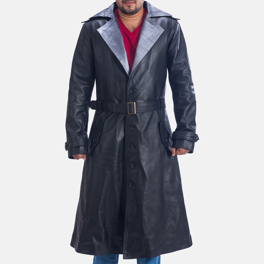 Mens Enigma Black Leather Trench Coat 2