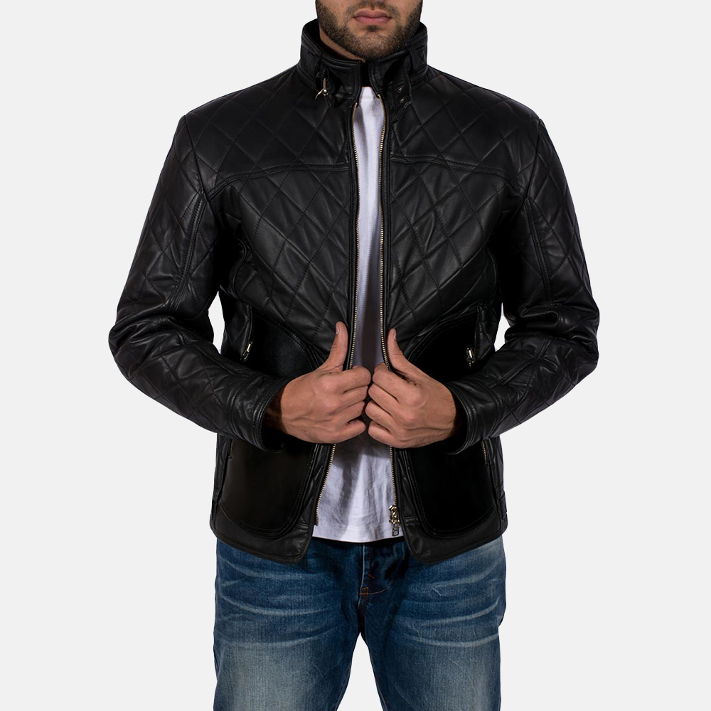 Mens Equilibrium Black Leather Jacket 2