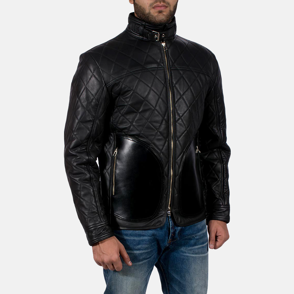 Mens Equilibrium Black Leather Jacket 4