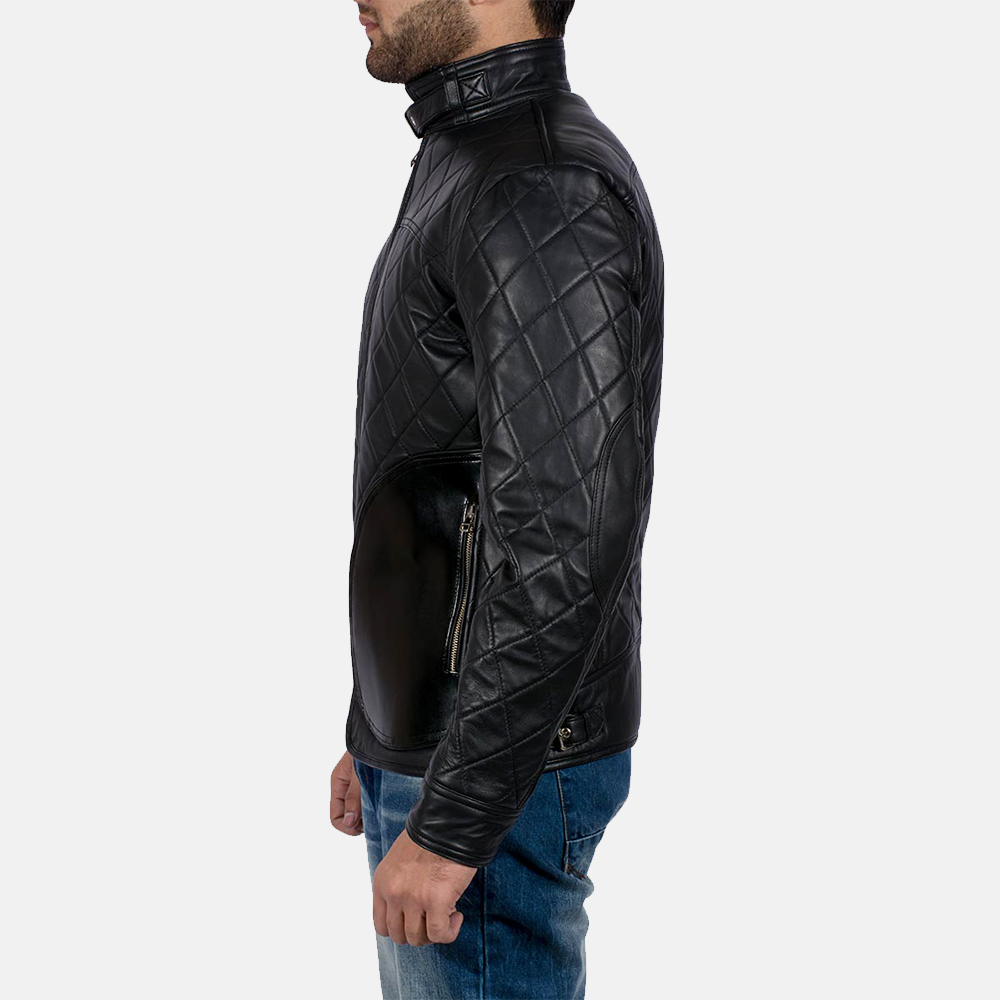 Mens Equilibrium Black Leather Jacket 5