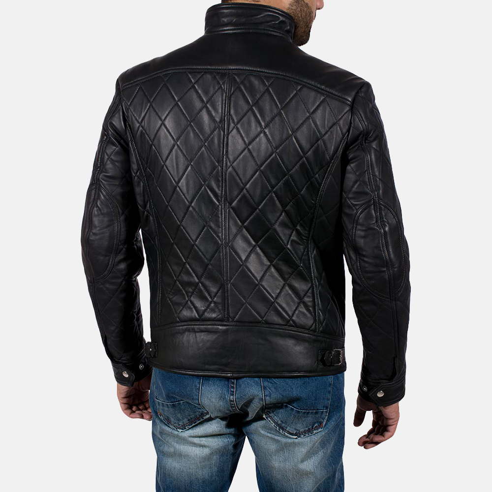 Mens Equilibrium Black Leather Jacket 6