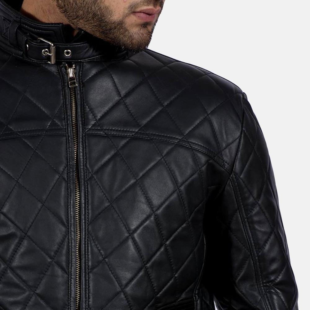 Mens Equilibrium Black Leather Jacket 3