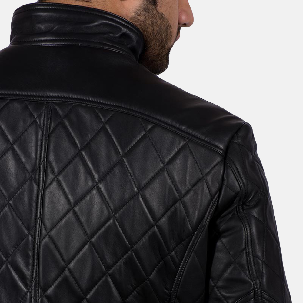Mens Equilibrium Black Leather Jacket 7