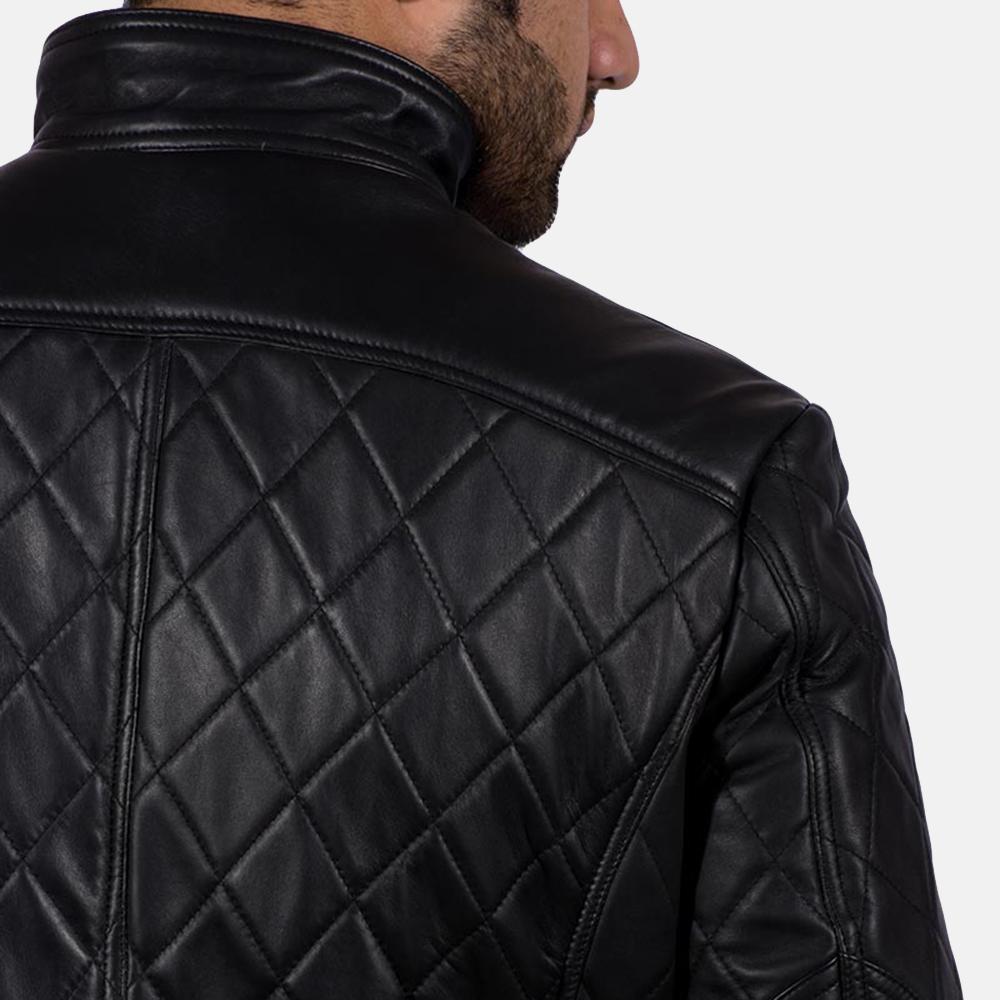 Mens Equilibrium Black Leather Jacket 7