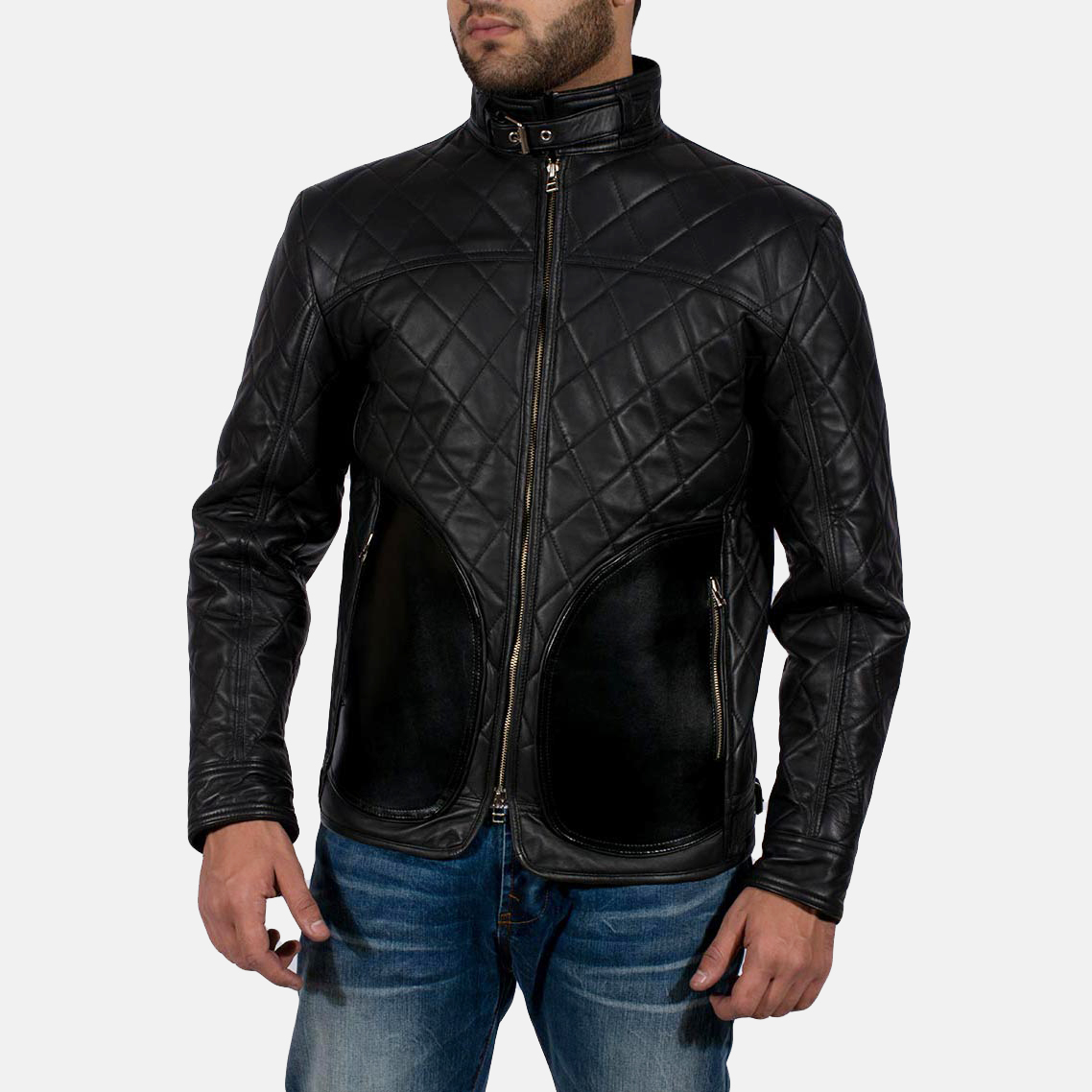 Mens Equilibrium Black Leather Jacket 1
