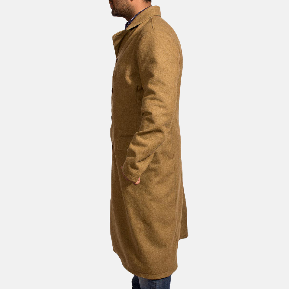 Mens Froth Khaki Wool Peacoat 2