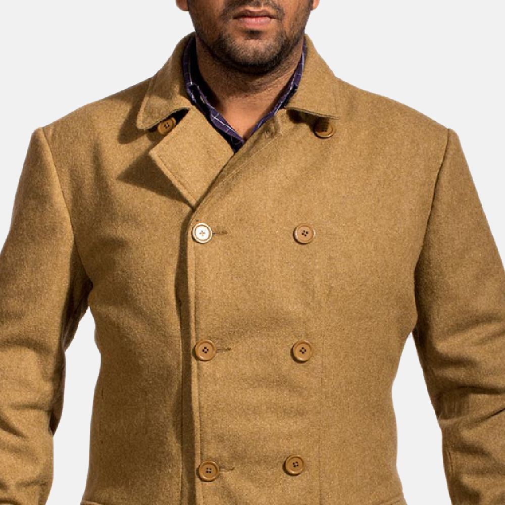 Mens Froth Khaki Wool Peacoat 3