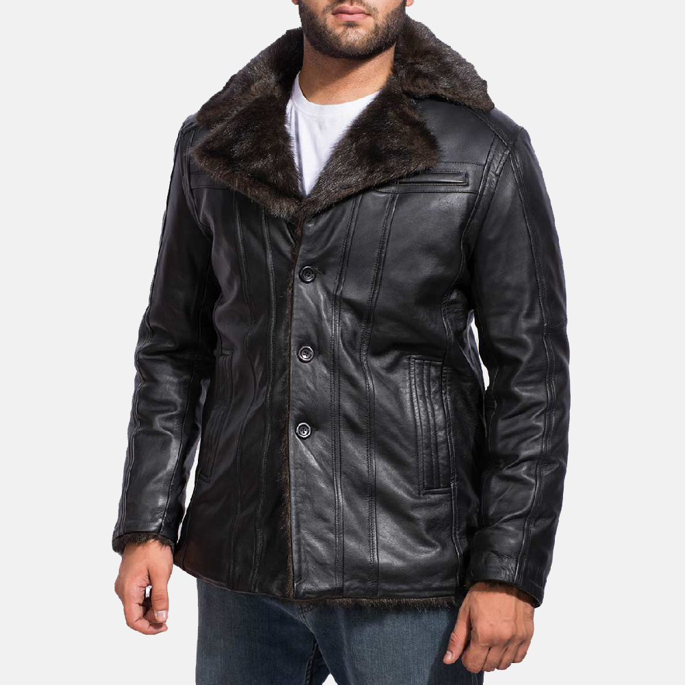 Mens Furcliff Black Leather Coat 3